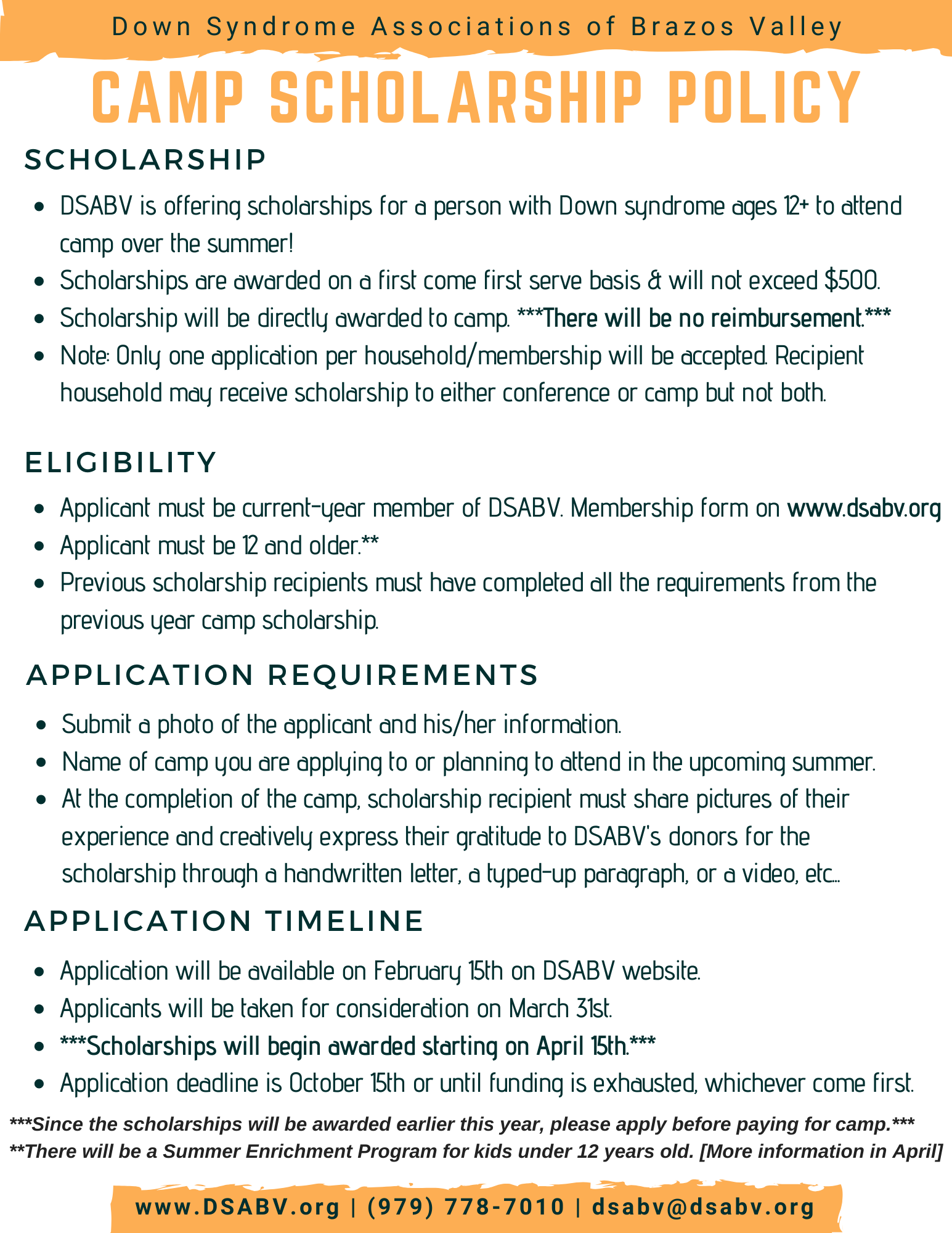 DSABV Camp stipend scholarship